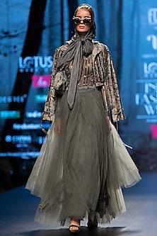 Ash Grey Asymmetrical Skirt With Belt by Nikita Mhaisalkar