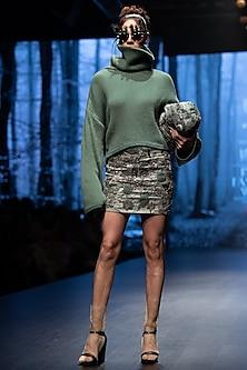 Jade Green Knitted Cotton Jumper by Nikita Mhaisalkar