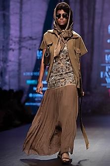 Dark Tan Oversized Coat With Sash by Nikita Mhaisalkar