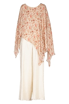 White Embroidered Printed Top With Palazzo Pants by NITISHA
