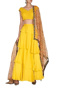 Yellow Printed Lehenga Set by NITISHA