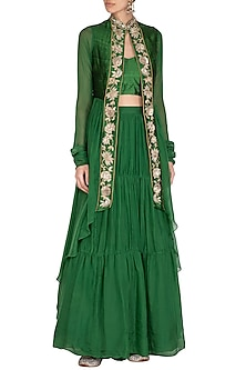 Emerald Green Embroidered Jacket Lehenga Set by NITISHA