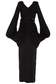 Black Fur Embellished Gown by NITISHA