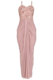 Blush Pink Embellished Draped Gown by NITISHA