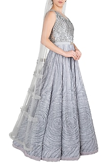Grey Embroidered Gown by Nitya Bajaj