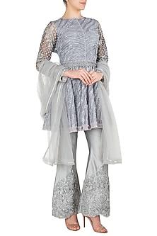 Grey Embroidered Tunic with Flared Pants by Nitya Bajaj