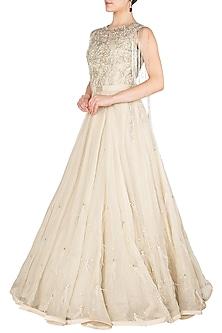 Ivory Embellished Gown by Nitya Bajaj