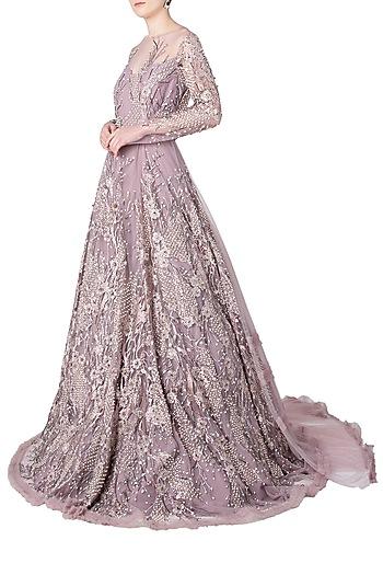 Rose Pink Embroidered Gown by Nitya Bajaj