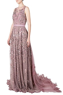 Rose Pink Mesh Embroidered Gown by Nitya Bajaj