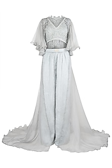 Grey Ruffled Crop Top with Palazzo Pants and Cape