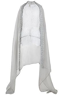 Grey Mesh Tunic with Crop Top, Pants and Cape by Nitya Bajaj