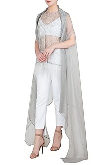 Grey Mesh Tunic with Crop Top, Pants and Cape by Nitya Bajaj
