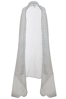 Grey Pleated Cape by Nitya Bajaj