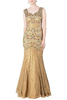 Gold Fishcut Embroidered Gown by Nitya Bajaj