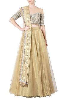 Gold Embellished Lehenga Set by Nitya Bajaj