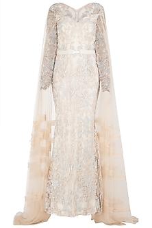 Ivory Embroidered Trail Gown by Nitya Bajaj