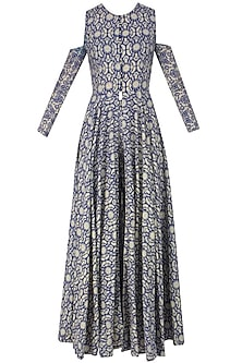 Blue and Beige Printed Split Detachable Sleeves Anarkali and Palazzos by Nitya Bajaj