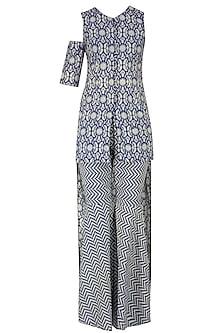 Blue and Beige High Low Printed Asymmetric Tunic with Sharara Pants by Nitya Bajaj