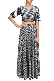 Blue and Beige Printed Crop Top with Split Sleeves and High Waisted Skirt by Nitya Bajaj