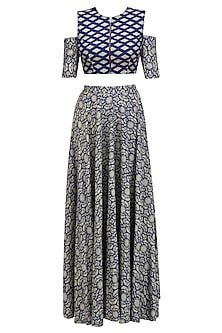 Blue and Beige Printed Cutout Crop Top and High Waisted Skirt Set by Nitya Bajaj