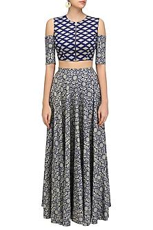 Blue and Beige Printed Cutout Crop Top and High Waisted Skirt Set by Nitya Bajaj