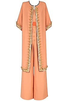 Orange Crop Top with Palazzo Pants and Embroidered Cape Set