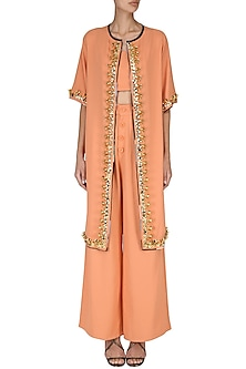 Orange Crop Top with Palazzo Pants and Embroidered Cape Set by Nitya Bajaj
