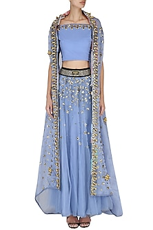 Sky Blue Embroidered Lehenga Set with Cape Set by Nitya Bajaj