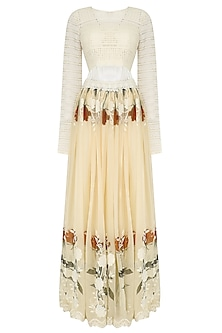 Ivory Crop Top and Floral Work Skirt Set