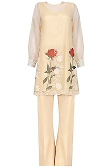 Beige Floral Pakistani Tunic and Bell Bottoms Set