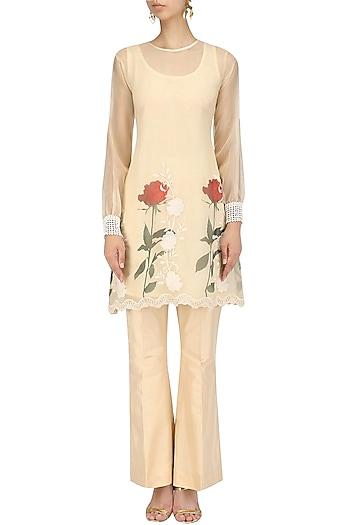 Beige Floral Pakistani Tunic and Bell Bottoms Set by Nitya Bajaj