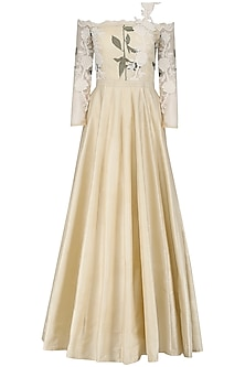 Beige Pearl Embroidered Gown