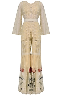 Beige Cutwork Crop Top, Jacket and Sharara Pants Set
