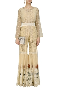 Beige Cutwork Crop Top, Jacket and Sharara Pants Set by Nitya Bajaj