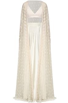 Ivory Embroidered Cape, Bralet and Lehenga Skirt Set