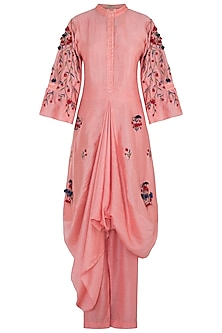 Blush Pink Embroidered Kurta With Pants & Bustier