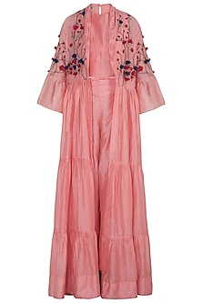 Blush Pink Embroidered Cape With Top & Pants by NE'CHI