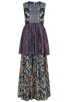 Blue Hand Embroidered Printed Peplum Top With Sharara Pants by NE'CHI