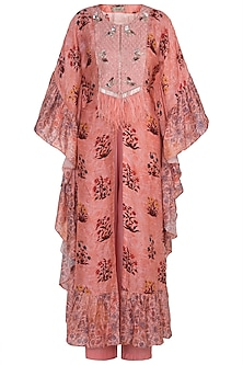 Blush Pink Embroidered Printed Kaftan With Pants by NE'CHI