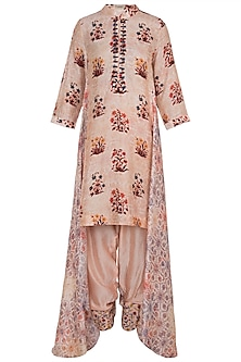 Peach Embroidered Printed Printed Tunic With Dhoti Pants