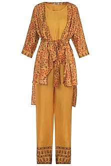 Mustard Embroidered Printed Cape With Top & Pants