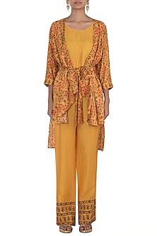 Mustard Embroidered Printed Cape With Top & Pants by NE'CHI