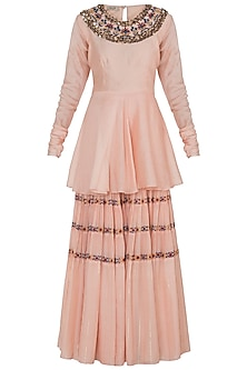 Peach Embroidered Peplum Top With Sharara Pants by NE'CHI