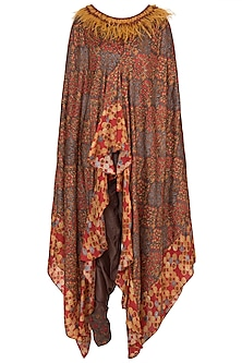 Brown Embroidered Printed Cape With Dhoti Pants & Bustier by NE'CHI