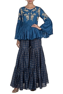 Blue Embroidered Peplum Top With Sharara Pants by NE'CHI