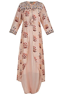 Peach Jumpsuit With Embroidered Printed Cape