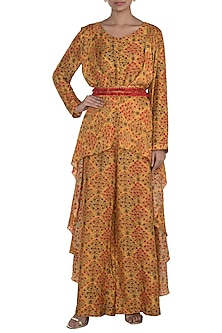 Mustard Embroidered Printed Jumpsuit With Belt by NE'CHI