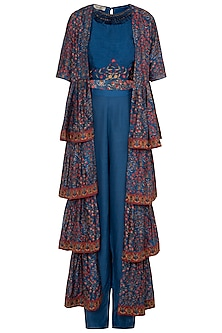 Blue Crop Top With Pants & Embroidered Printed Cape