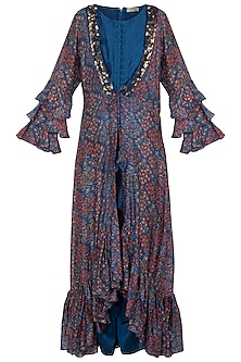 Blue Jumpsuit With Embroidered Printed Cape