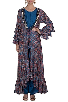 Blue Jumpsuit With Embroidered Printed Cape by NE'CHI